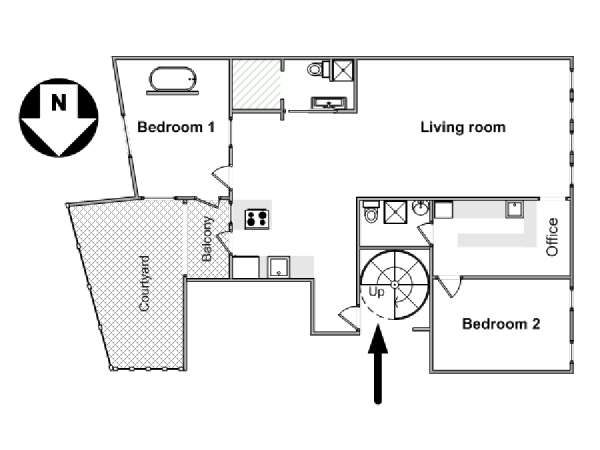 Paris 1 Bedroom - Loft accommodation - apartment layout  (PA-4512)