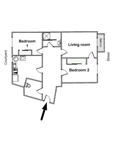 Paris 2 Bedroom apartment - apartment layout  (PA-4517)