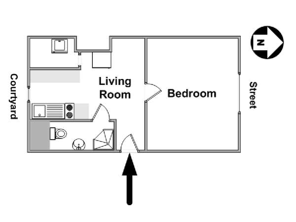 Paris 1 Bedroom apartment - apartment layout  (PA-4518)