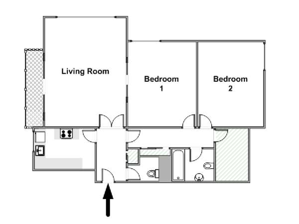 Paris 2 Bedroom apartment - apartment layout  (PA-4527)