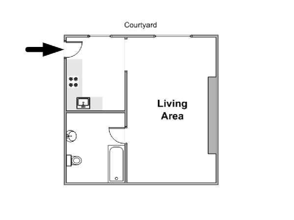 Paris Studio T1 logement location appartement - plan schématique  (PA-4557)
