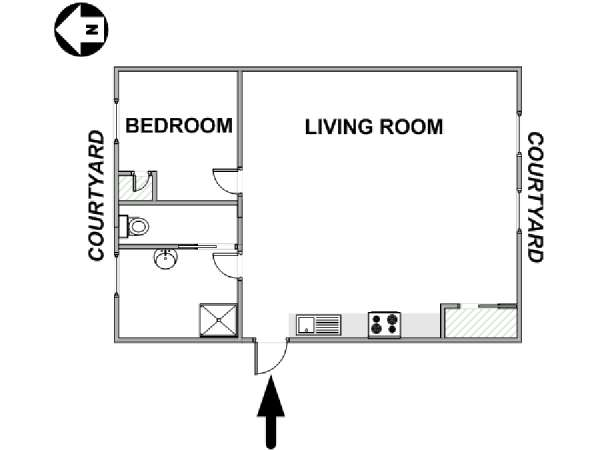 Paris 1 Bedroom apartment - apartment layout  (PA-4583)
