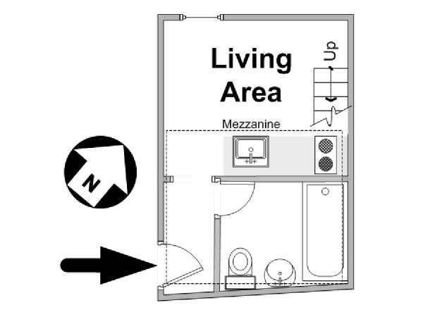 Paris Alcove Studio apartment - apartment layout  (PA-4591)