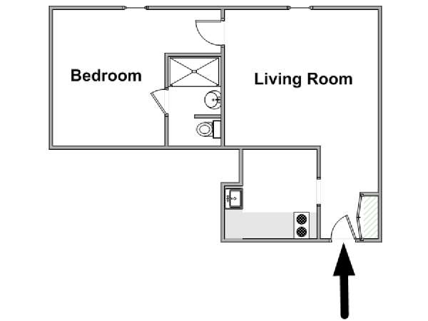 Paris T2 logement location appartement - plan schématique  (PA-4621)