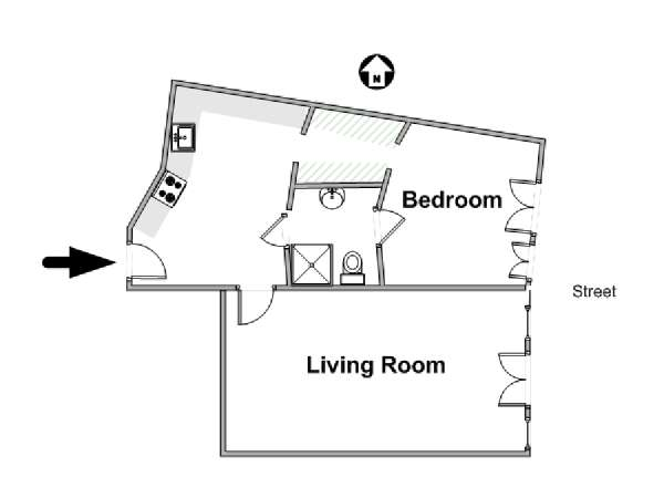 Paris 1 Bedroom accommodation - apartment layout  (PA-4658)