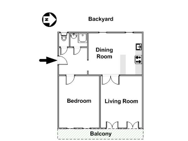 Paris 1 Bedroom accommodation - apartment layout  (PA-4666)