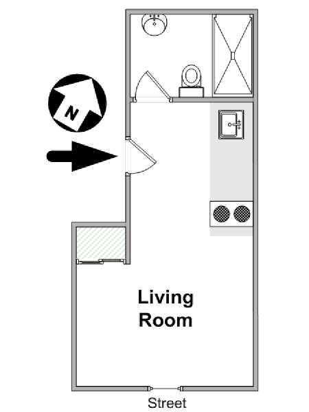Paris Studio apartment - apartment layout  (PA-4673)