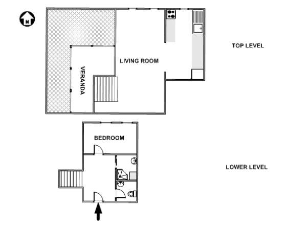 Paris 1 Bedroom - Duplex apartment - apartment layout  (PA-4723)