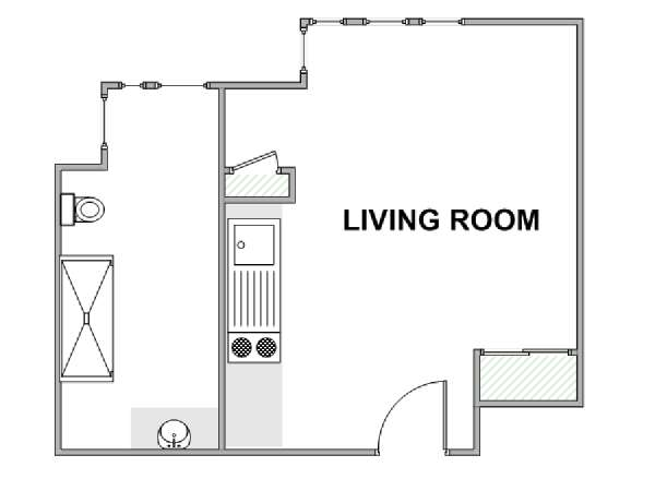 Paris Studio apartment - apartment layout  (PA-4757)