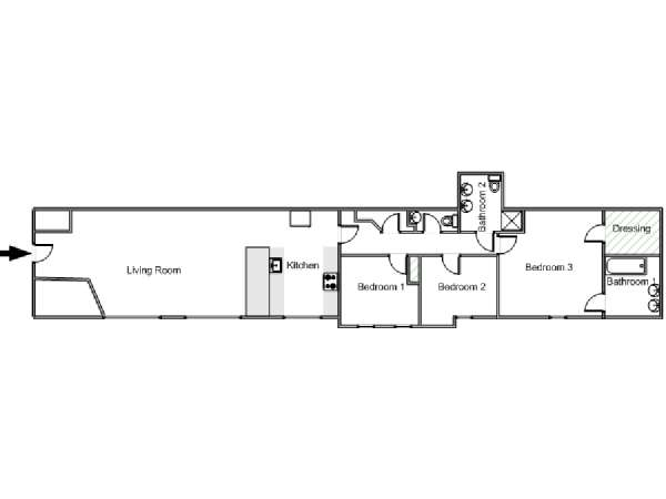 Paris 3 Bedroom - Loft accommodation - apartment layout  (PA-4781)
