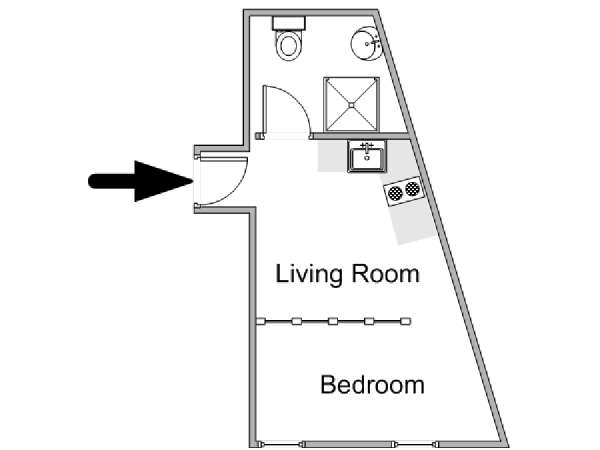 Paris 1 Bedroom apartment - apartment layout  (PA-4785)