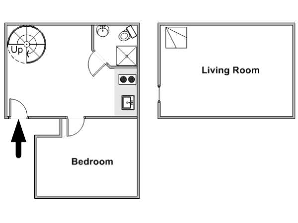 Paris 1 Bedroom - Duplex apartment - apartment layout  (PA-4790)