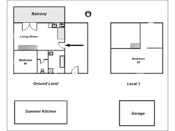South of France - French Alps - 2 Bedroom - Chalet - Bungalow apartment - apartment layout  (PR-954)