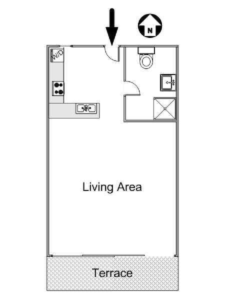 South of France - French Riviera - Studio apartment - apartment layout  (PR-1067)