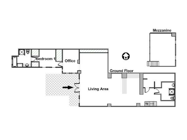 South of France - Montpellier Region - 2 Bedroom - Loft accommodation - apartment layout  (PR-1133)