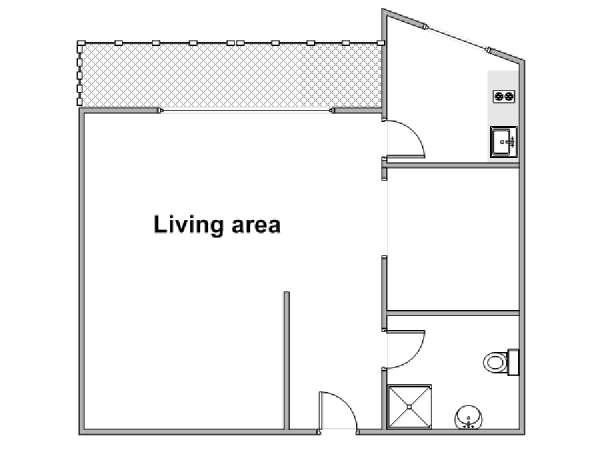 South of France - French Riviera - Studio apartment - apartment layout  (PR-1240)