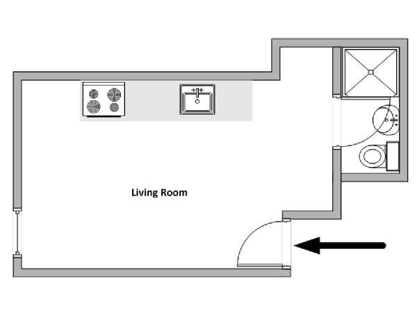 South of France - French Riviera - Studio apartment - apartment layout  (PR-1254)