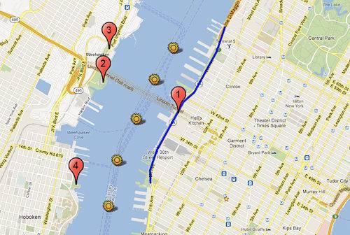 Carte des meilleurs endroits où regarder le feu d'artifice de Macy's à New York et dans le New Jersey