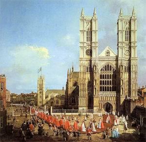 Une peinture représentant une procession devant l'Abbaye de Westminster en 1749