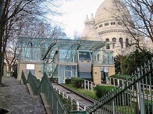 Image du funiculaire de Montmartre et du Sacré-Cœur