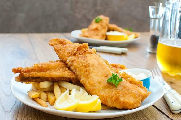Photo d'un plat traditionnel londonien de fish & chipsPhoto d'un plat traditionnel londonien de fish & chips