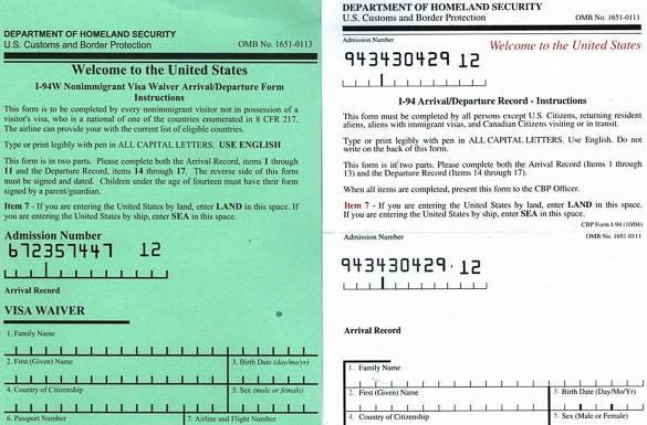 Formulaire I-94 à remplir si l'on voyage à New York