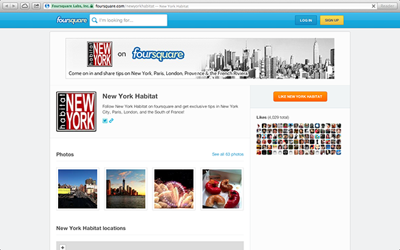 Capture d'écran de la page Foursquare de New York Habitat