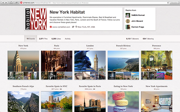 Capture d'écran de la page Pinterest de New York Habitat