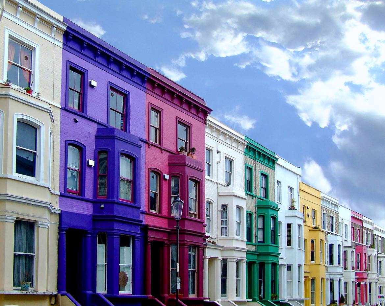 Photo des maisons de ville londoniennes.