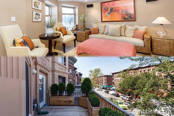 Montage photo représentant le grand balcon arboré et la chambre de l'appartement NY-16928