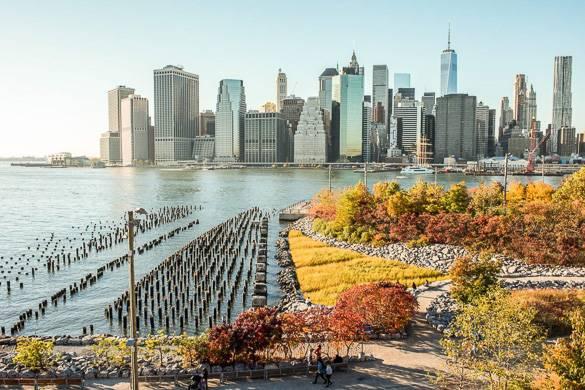 Photo de la skyline de Manhattan avec ses arbres aux couleurs automnales et la One World Trade Center au loin