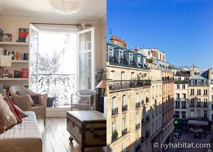 Photo de la façade d'un immeuble parisien et de l'intérieur de l'appartement T4 PA-4080