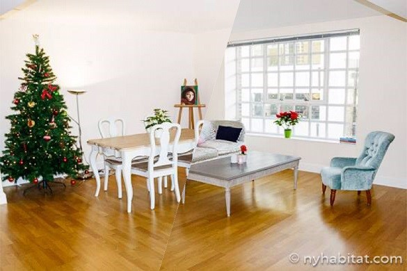 Photo du salon de l'appartement LN-1265, à Southwark, orné d'un sapin de Noël et d'une table à manger