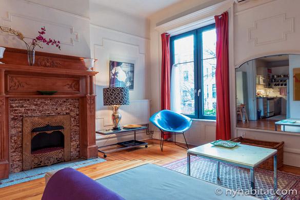 Photo d'une cheminée décorative marron dans l'un des salons de l'appartement NY-16215