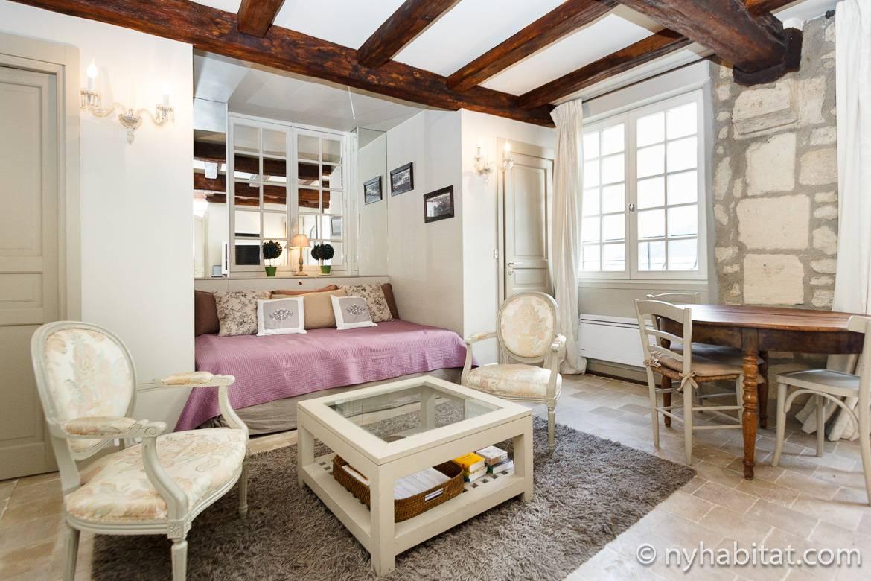Photo du salon de l'appartement PA-4197 avec un divan, les murs en pierres apparentes et des poutres au plafond