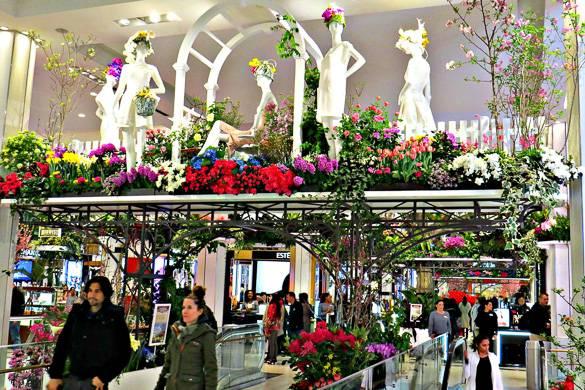 Photo de fleurs décorant la devanture du Macy's