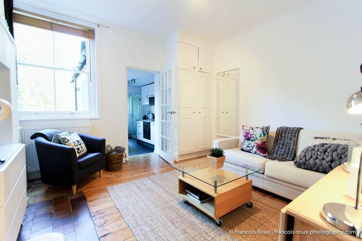 Photo du salon de l'appartement LN-24 avec un canapé-lit, une table basse et une cuisine en alcôve.