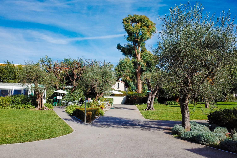 Photo du jardin et des allées menant au musée national Marc Chagall.