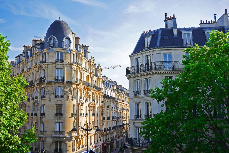 Photo de toits d'immeubles haussmanniens entourés d'arbres à Paris.