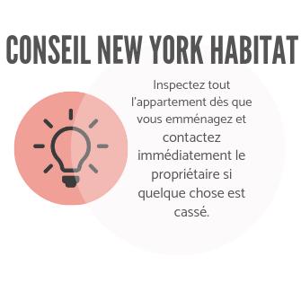 Infographie New York Habitat encourageant les locataires à inspecter leur appartement et à contacter le propriétaire pour des réparations.