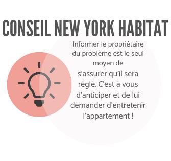 Infographie New York Habitat expliquant aux locataires d'informer le propriétaire pour s'assurer que la réparation sera effectuée.