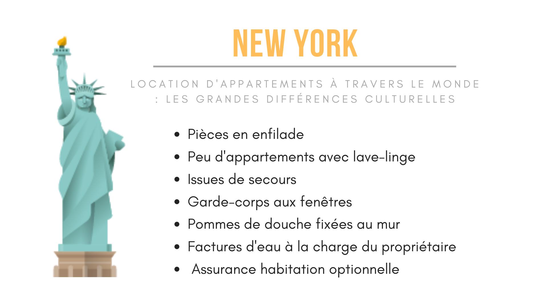 Infographie de New York Habitat expliquant les particularités des locations à New York.