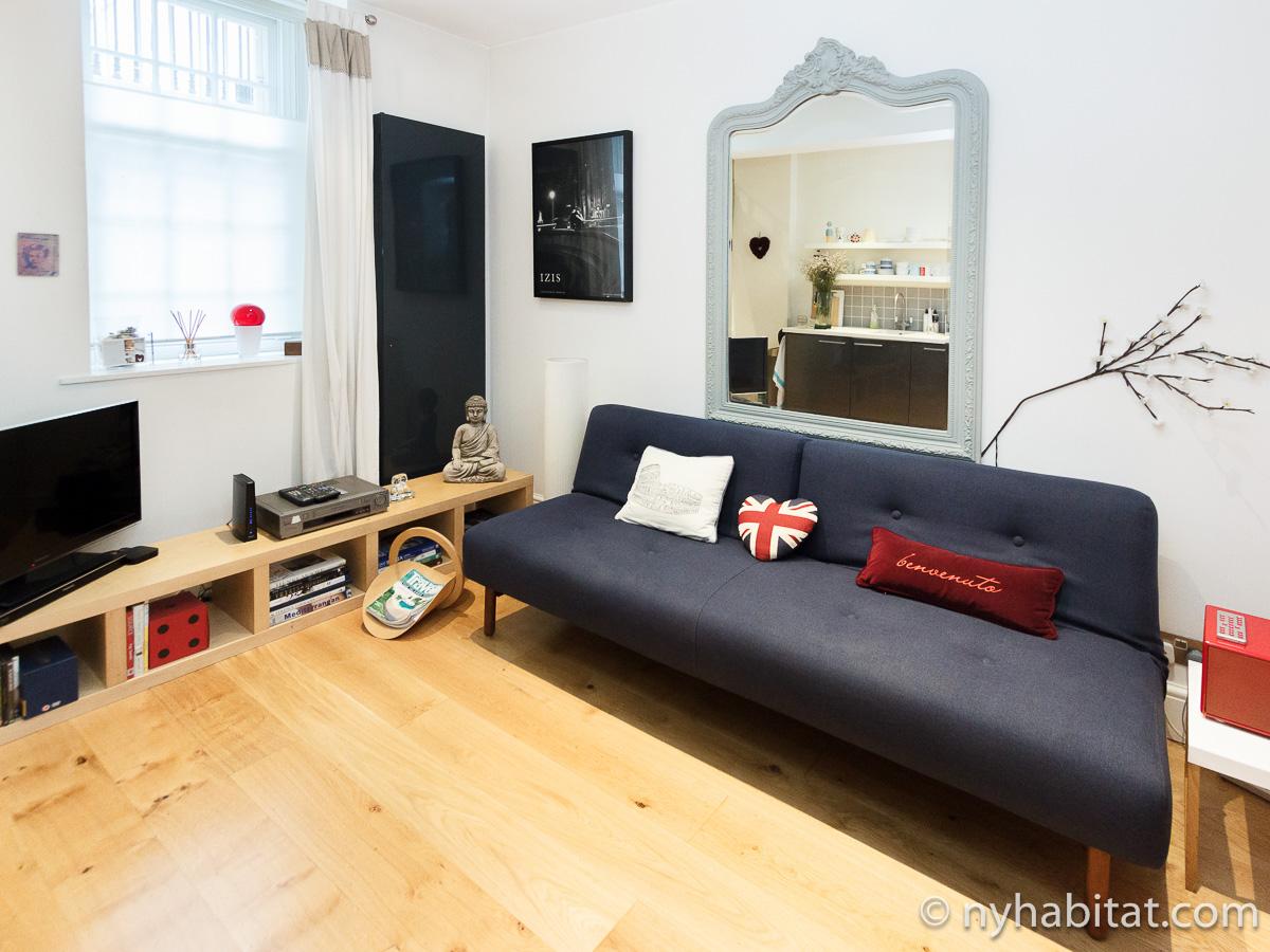 Photographie du salon de l'appartement LN-450 avec canapé, miroir et télévision