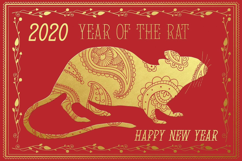 Image d'une carte rouge et dorée avec un dessin de rat pour représenter l'année chinoise 2020 symbolisée par le rat
