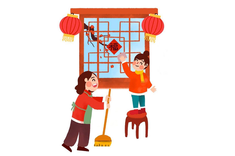 Image d'un dessin animé représentant un enfant et sa mère en train de nettoyer une fenêtre décorée de lanternes asiatiques