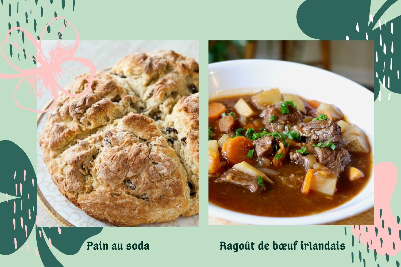 Image du soda bread irlandais et du ragoût de bœuf
