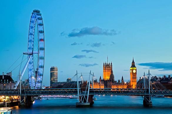Immagine del London Eye e delle Houses of Parliament