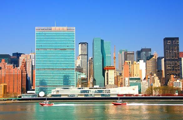 Foto della sede centrale delle Nazioni Unite a Manhattan