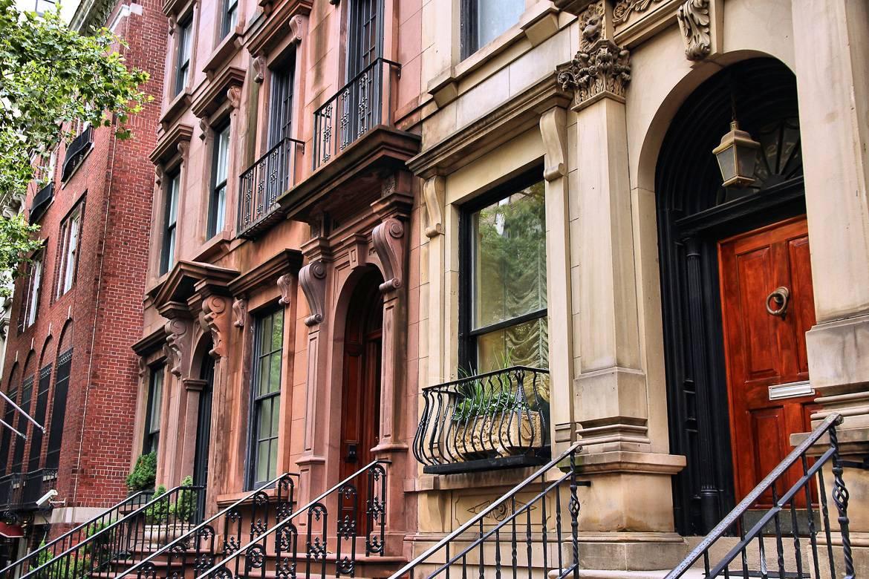 Foto dei brownstone di New York a Harlem, Manhattan