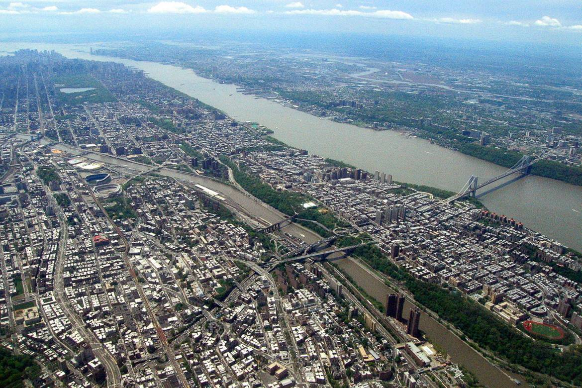Panorama del Bronx e della parte superiore si Manhattan, a New York